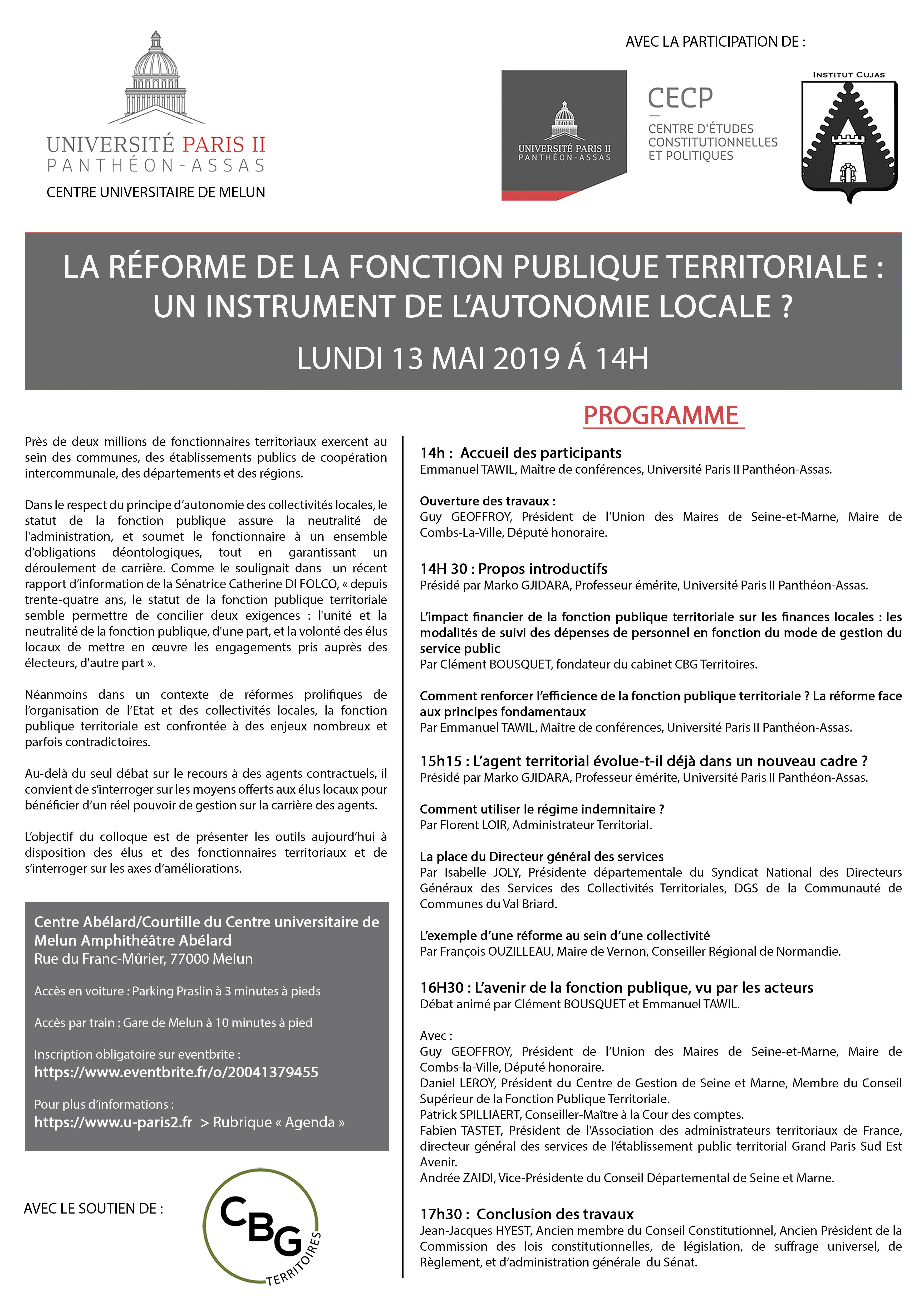 Affiche colloque fonction publique territoriale - CECP