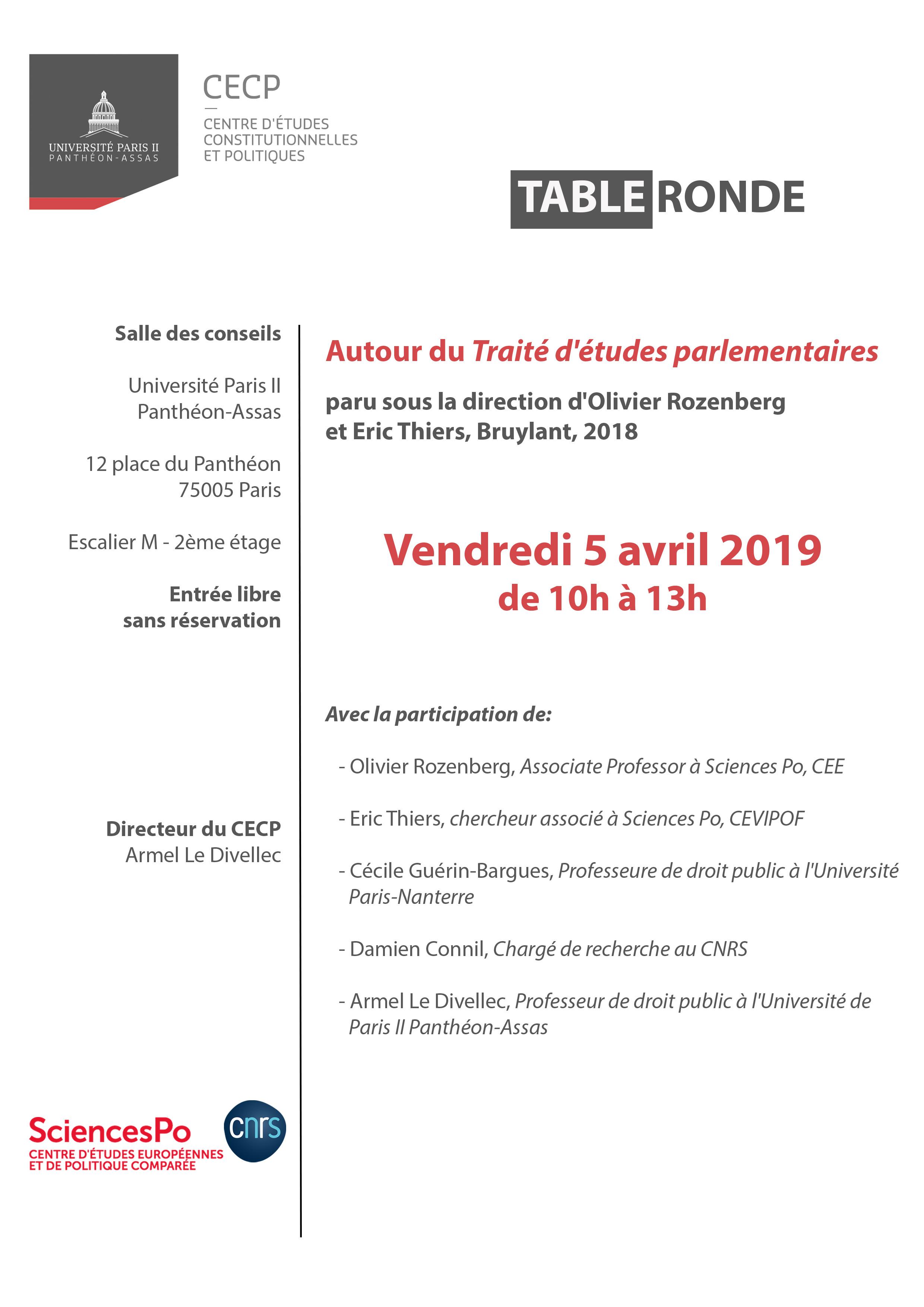 Flyer table ronde - traité d'études parlementaires