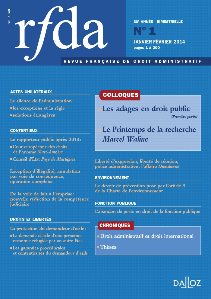 couverture RFDA 2014 n°1