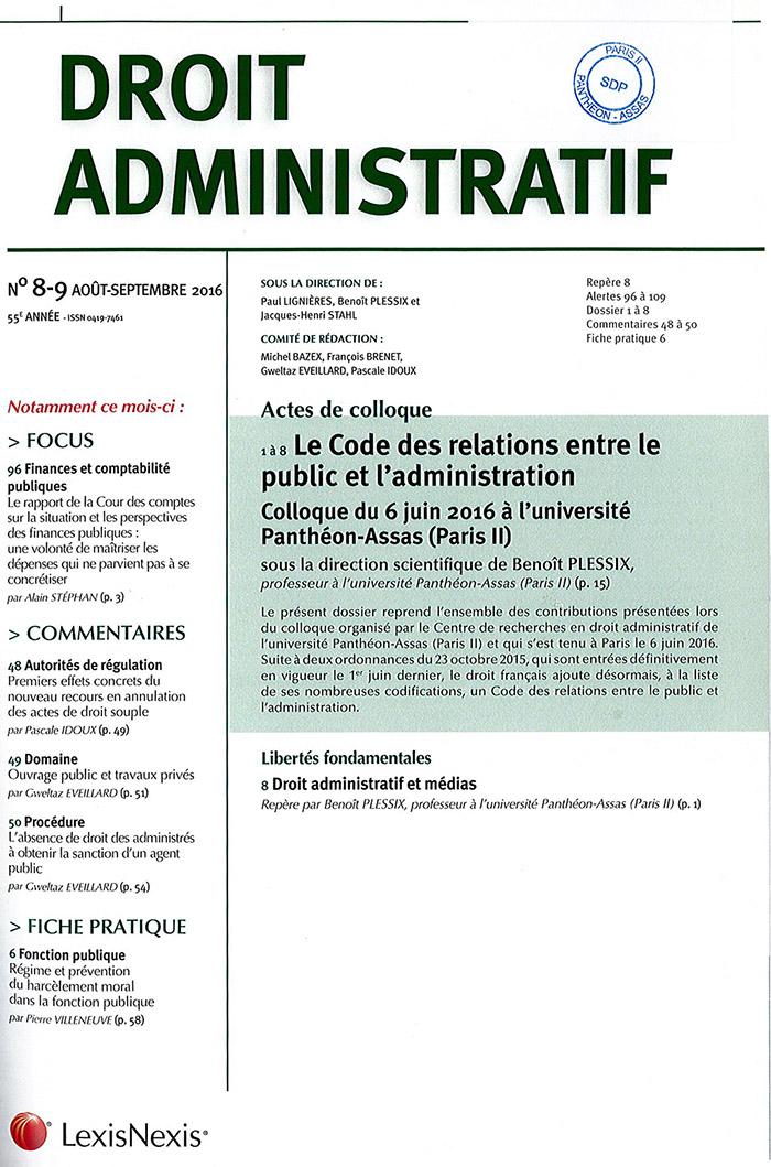 Couverture revue droit administratif N°8-9 2016