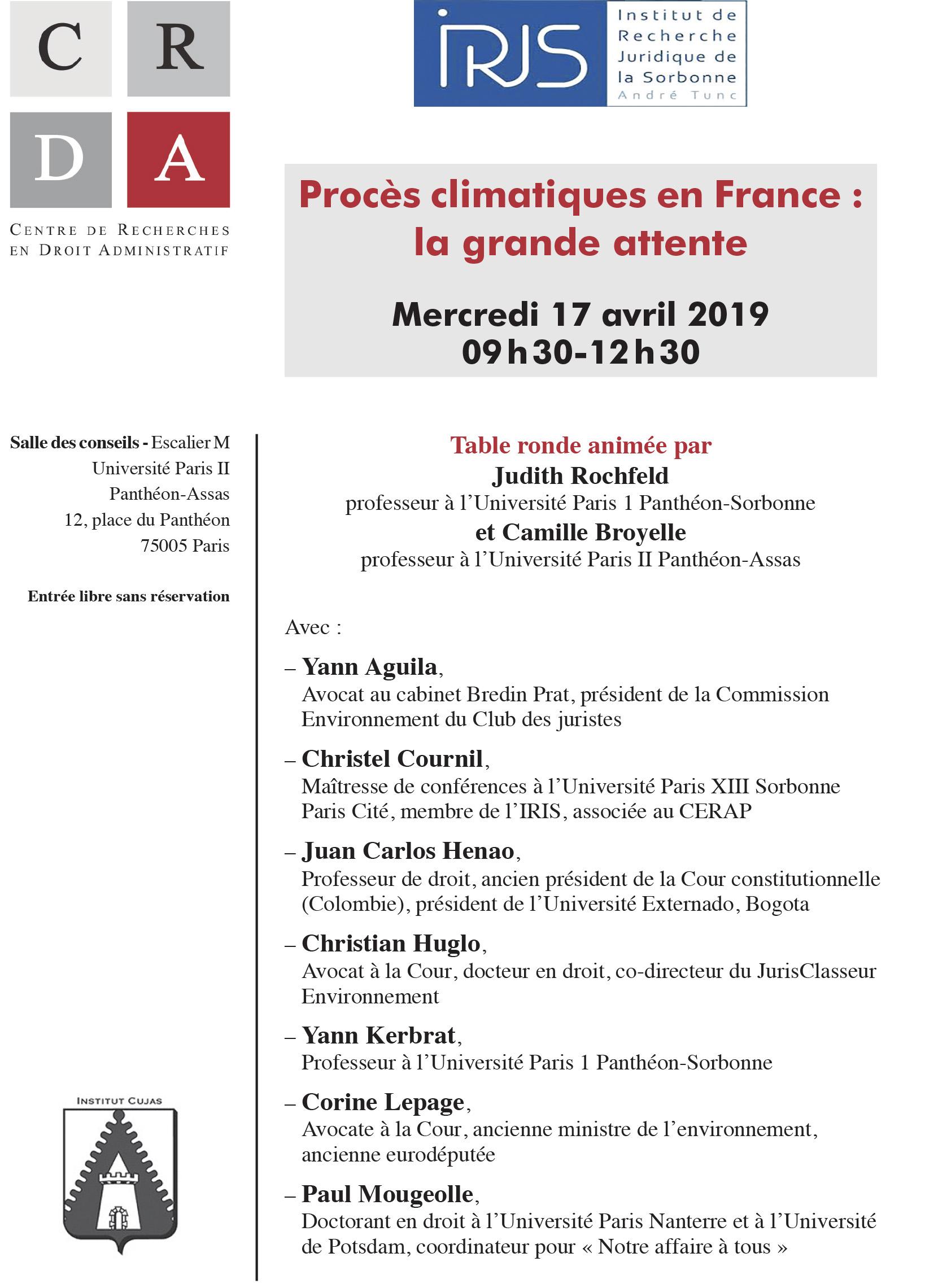 Flyer table ronde - Procès climatiques en France: la grande attente