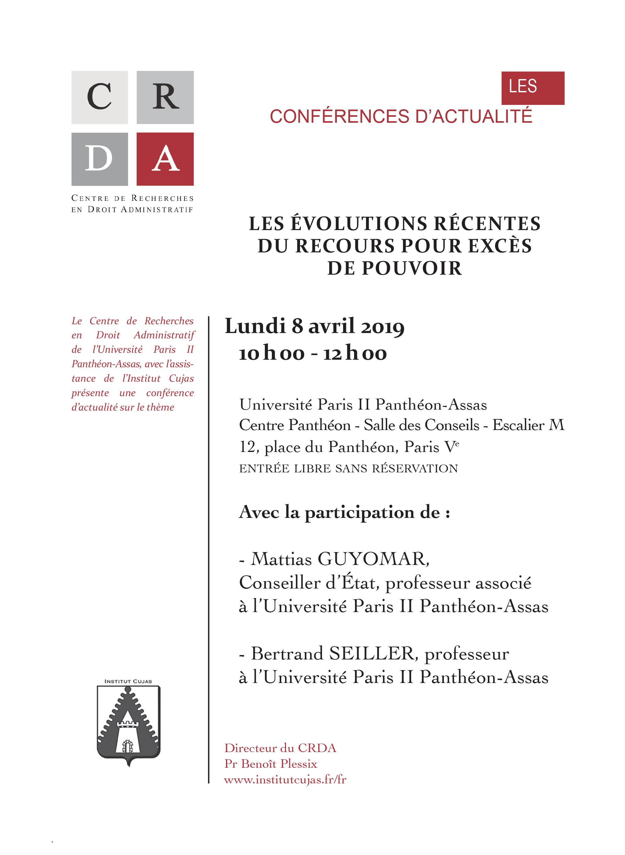 Flyer conférence d'actualité du 8 avril 2019