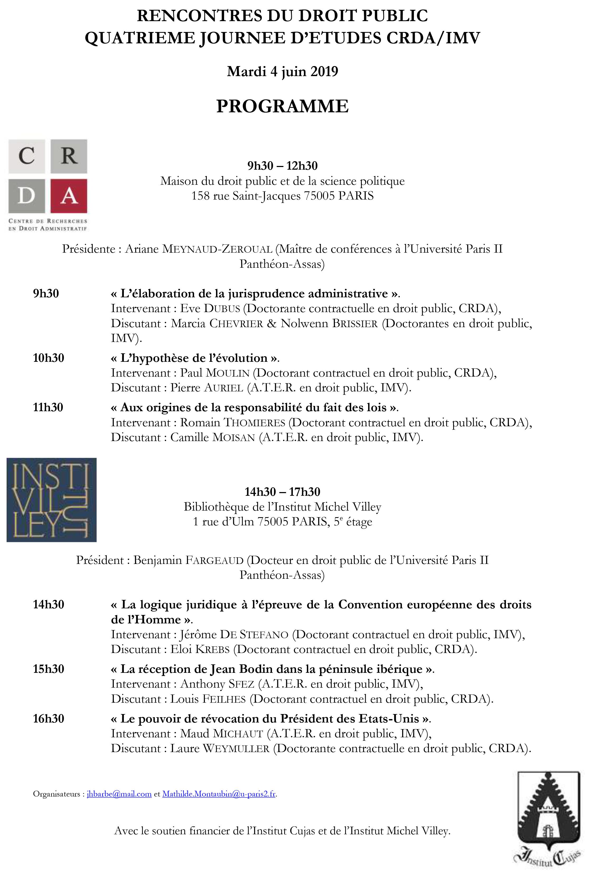 Programme rencontres IMV et CRDA